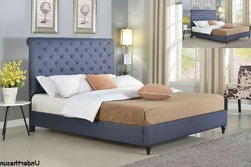 New Platform Bed King Queen Full Twin Size Button Tufted Bed