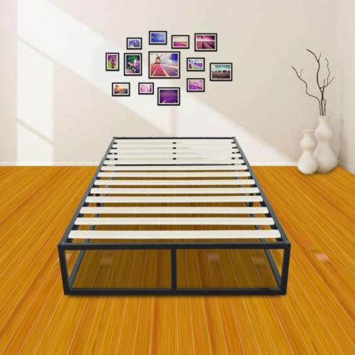 Simple Basic Iron Bed Full Size Metal Platform Bed Frame Bla