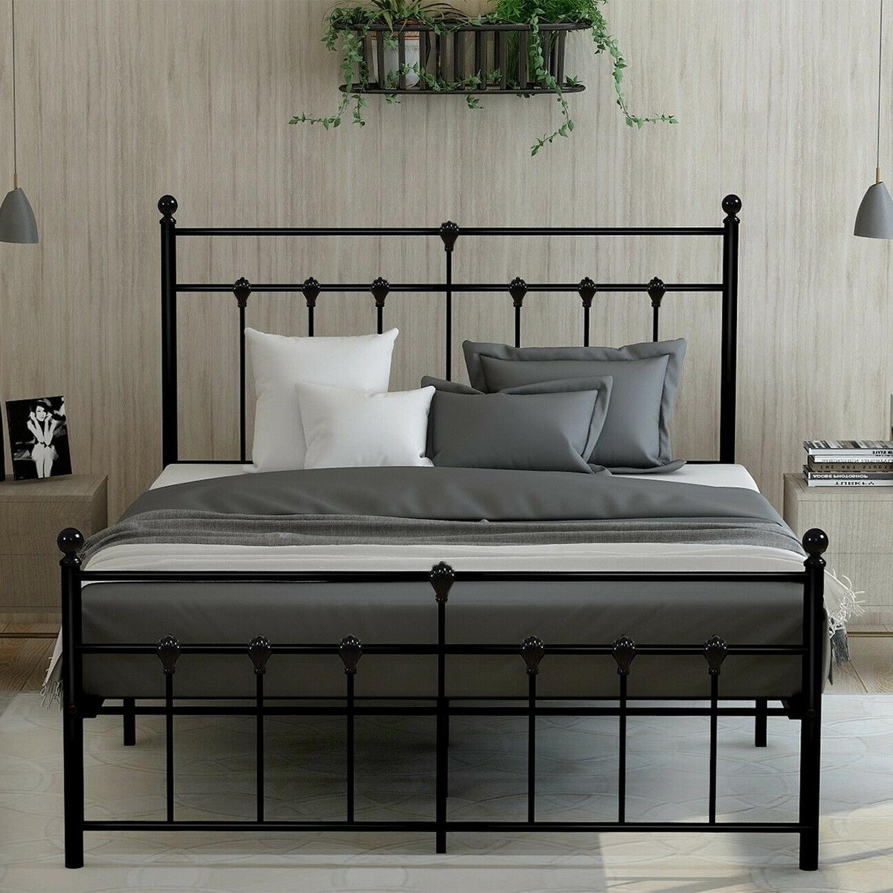 No Spring Metal Bed Frame Headboard and Home Furniture