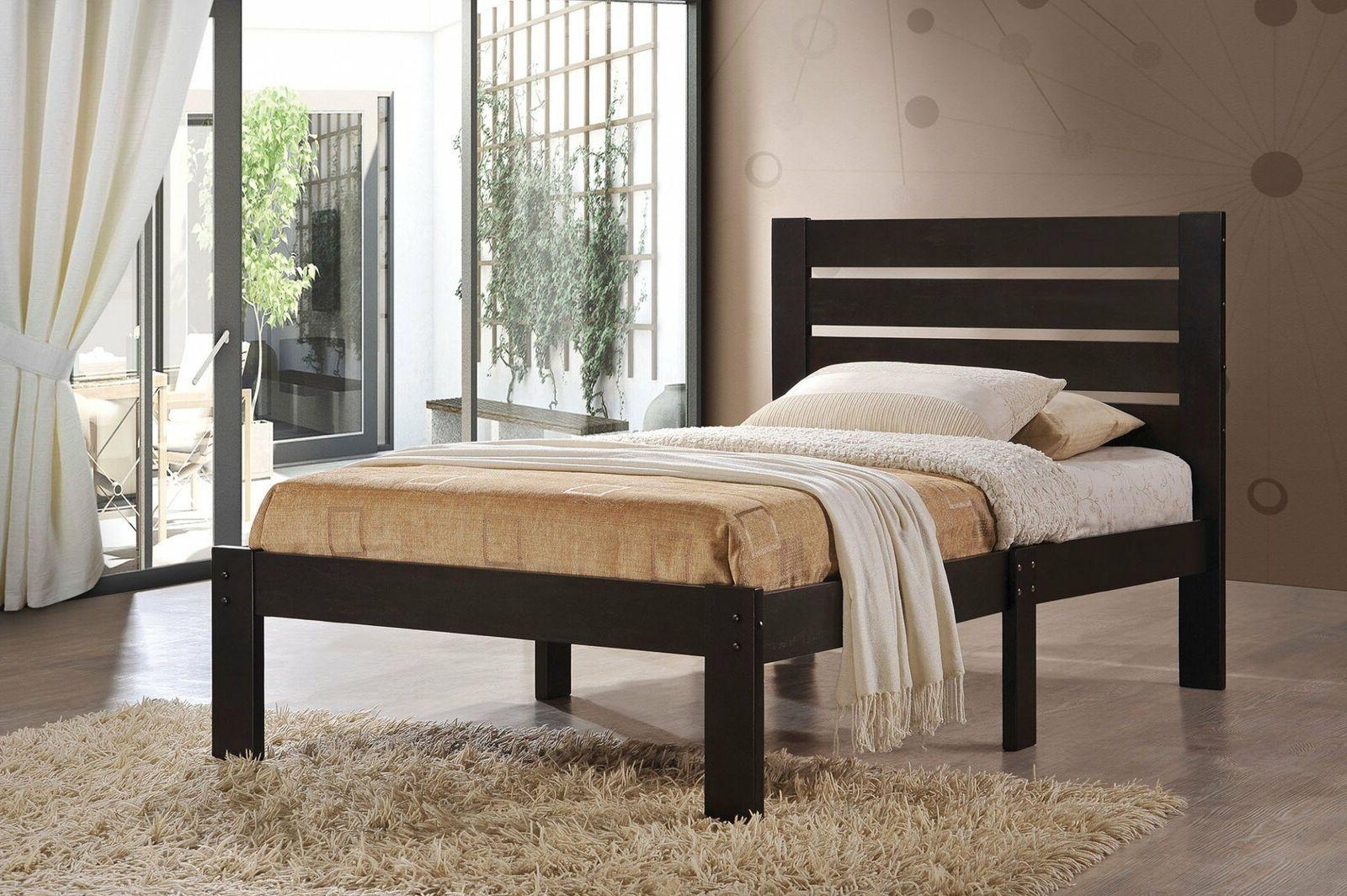 Platform Bed Frame Twin Size Mattress Slat Headboard Bedroom