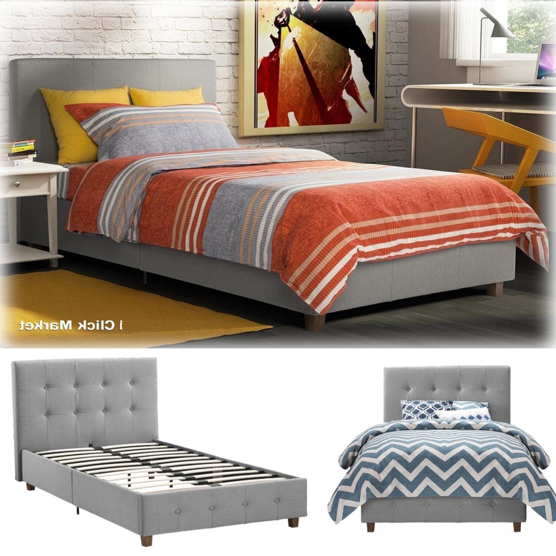 DHP Platform Bed Rose Linen Tufted Upholstered Platform Bed