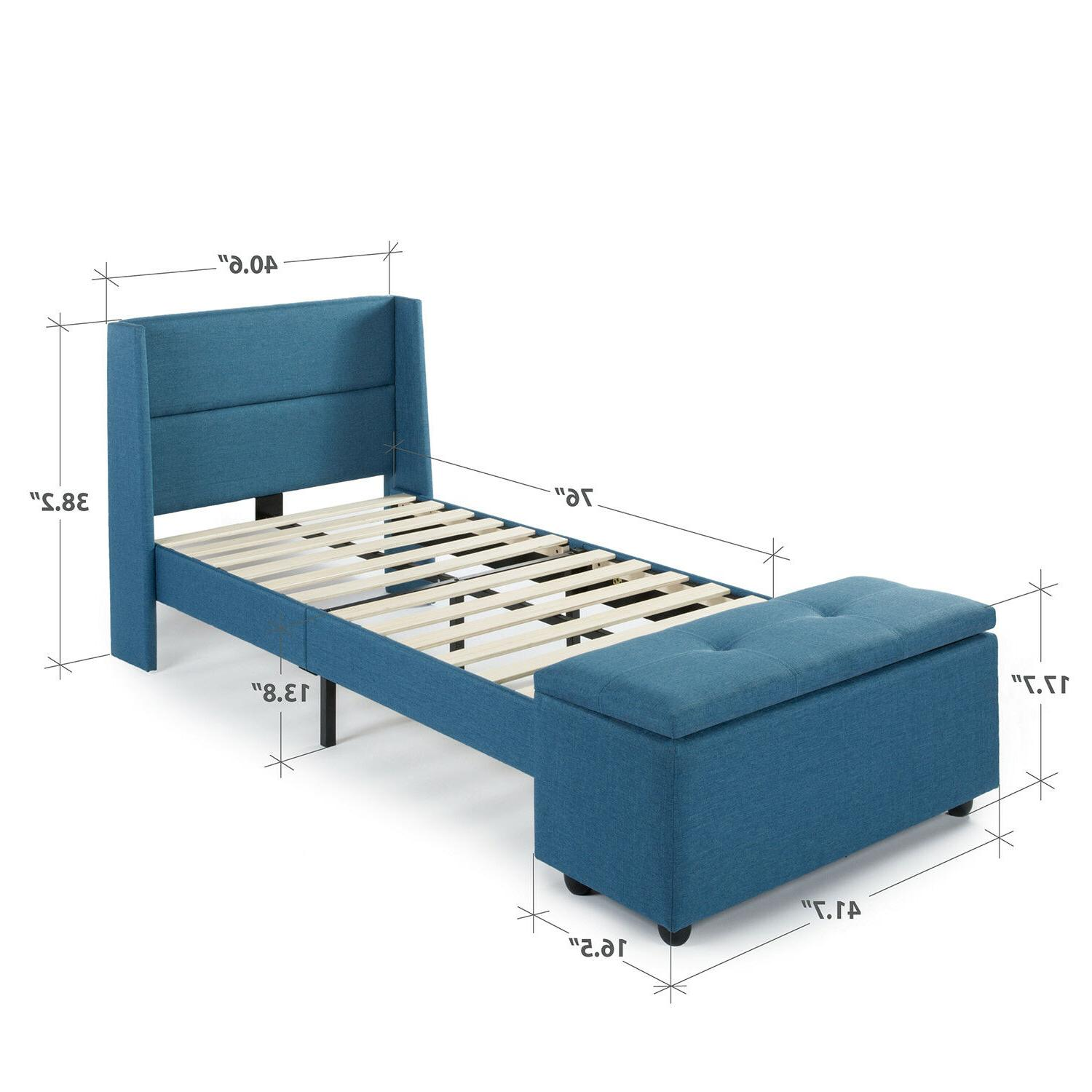 Platform Bed w Headboard and Blue Kids Twin Frame