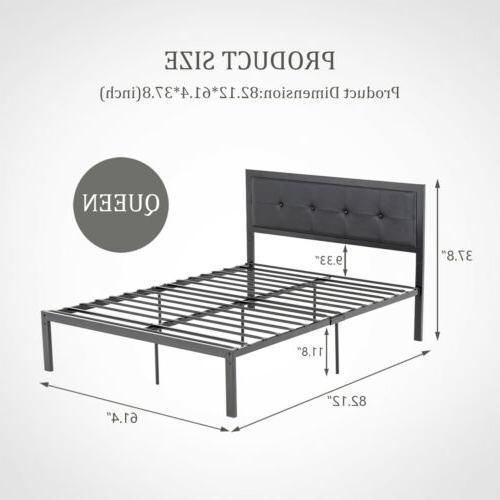 Queen Metal Bed Frame Upholstered