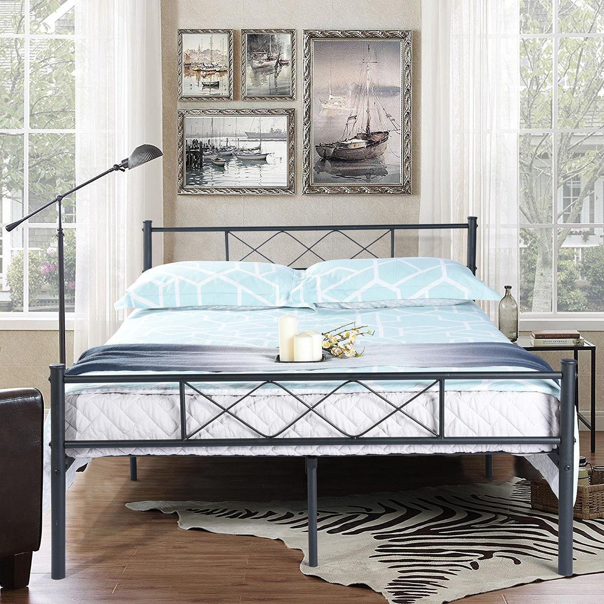 Platform Metal Bed Foundation Headboard Bedroom Twin Size