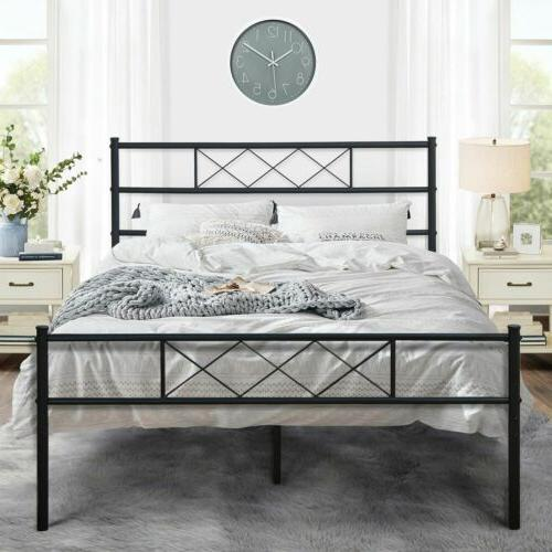 Platform Metal Bed Frame With Headboard No Box Spring Needed