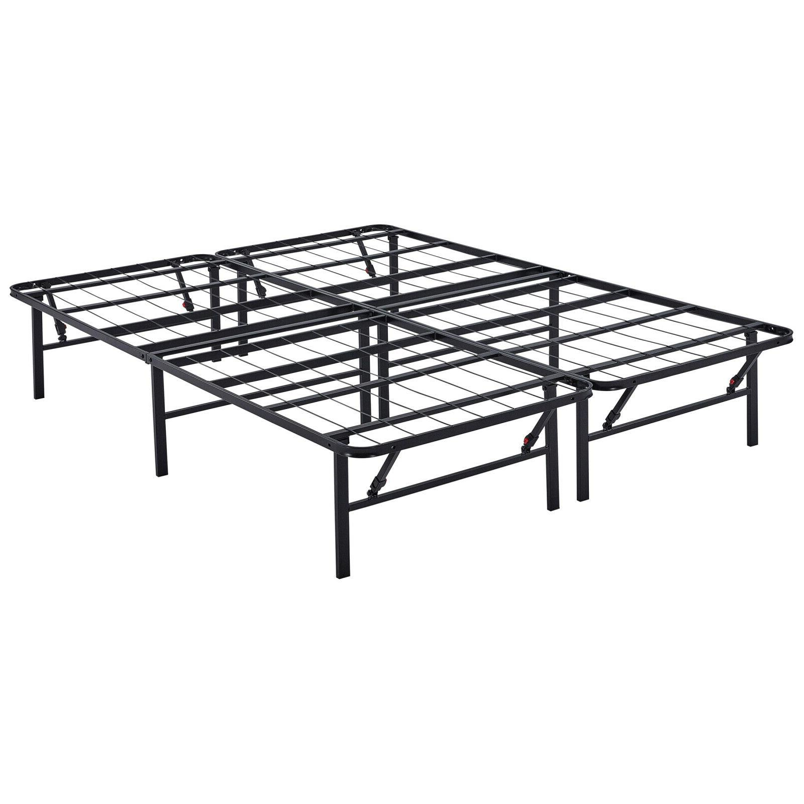 Bi-Fold Metal Platform Bed Frame Foldable Mattress No Box Tw