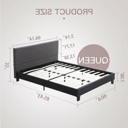 Platform Queen Bed Frame Upholstered Linen Headboard w/ Slats