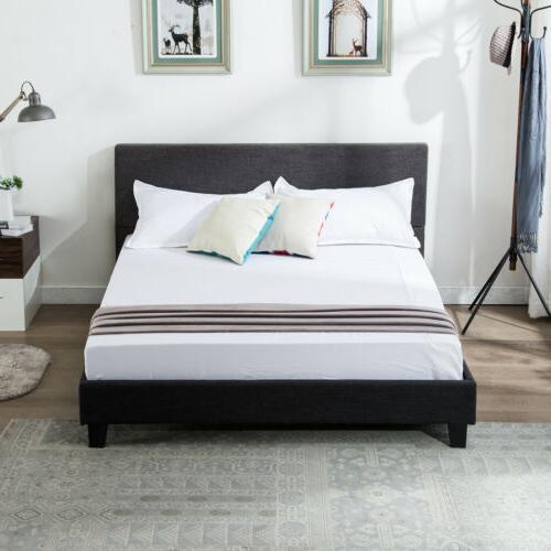 Platform Queen Bedroom Size Bed Frame Upholstered Headboard w/ Slats