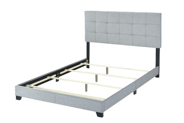Platform Gray Fabric Bed Frame King Twin