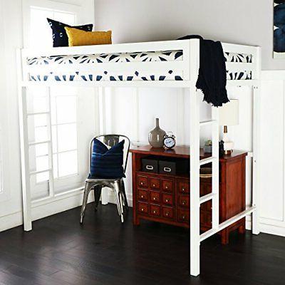 Premium Deluxe Twin Metal Loft Bed in White Color