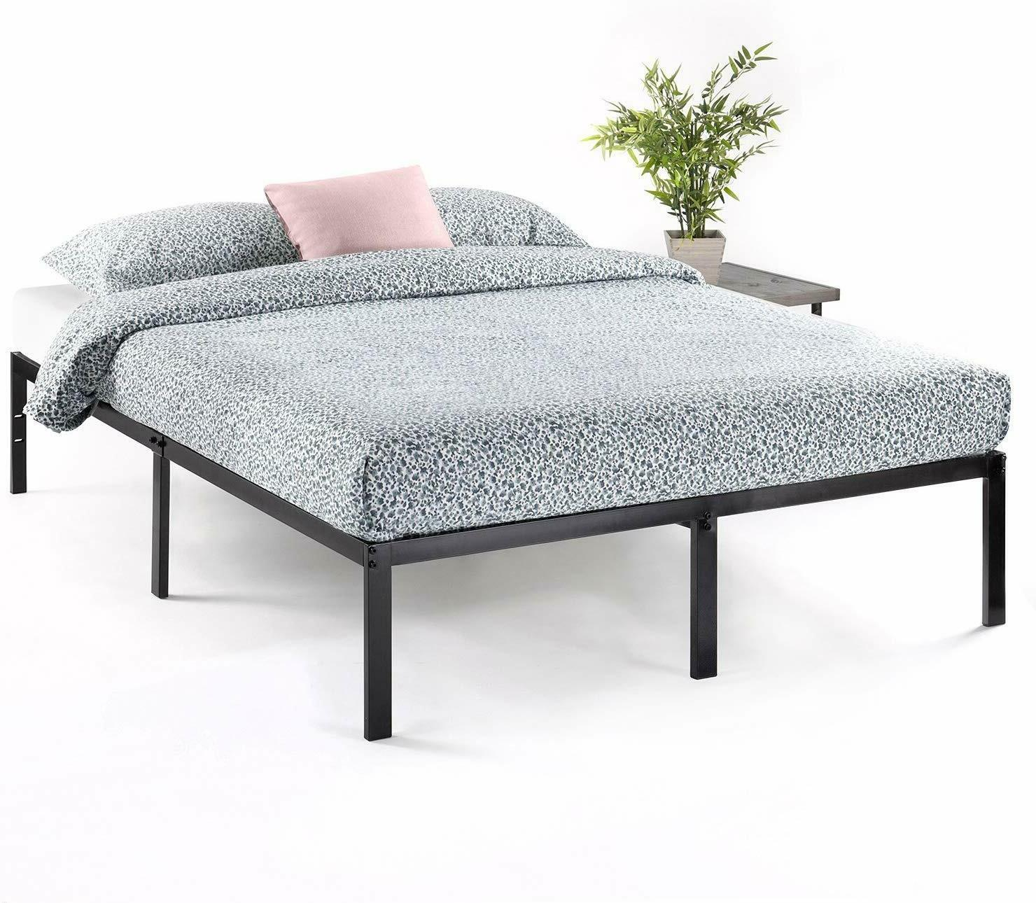 Best Price Mattress Full Inch Metal Platform Beds Mattress , Black