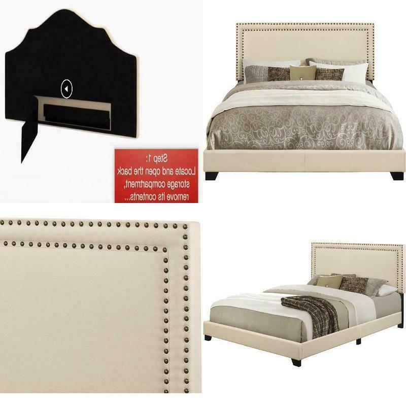 queen bed frame complete set rails upholstered