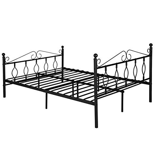 GreenForest Queen Metal Platform Complete Bed with Vintage Footboard Replacement Steel Black Queen