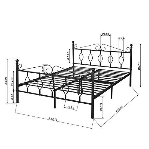 GreenForest Queen Bed Metal Complete Bed with Headboard Footboard Box Spring Replacement Steel Black Queen