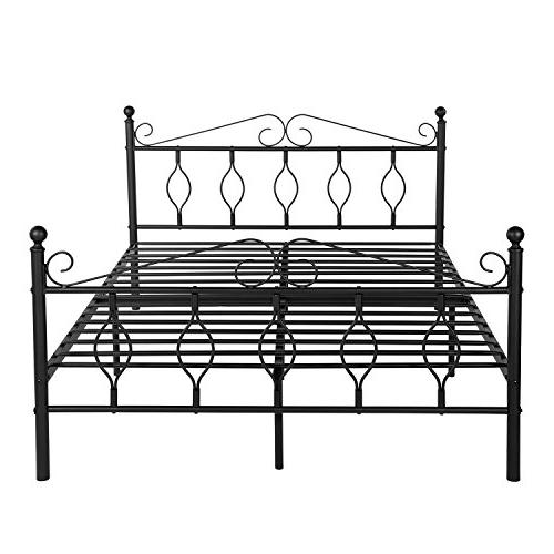 Metal Complete Bed with Headboard Footboard Box Steel Matte Black