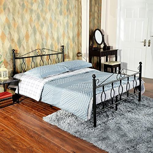 GreenForest Queen Bed Metal Platform Complete with Vintage Footboard Steel Black