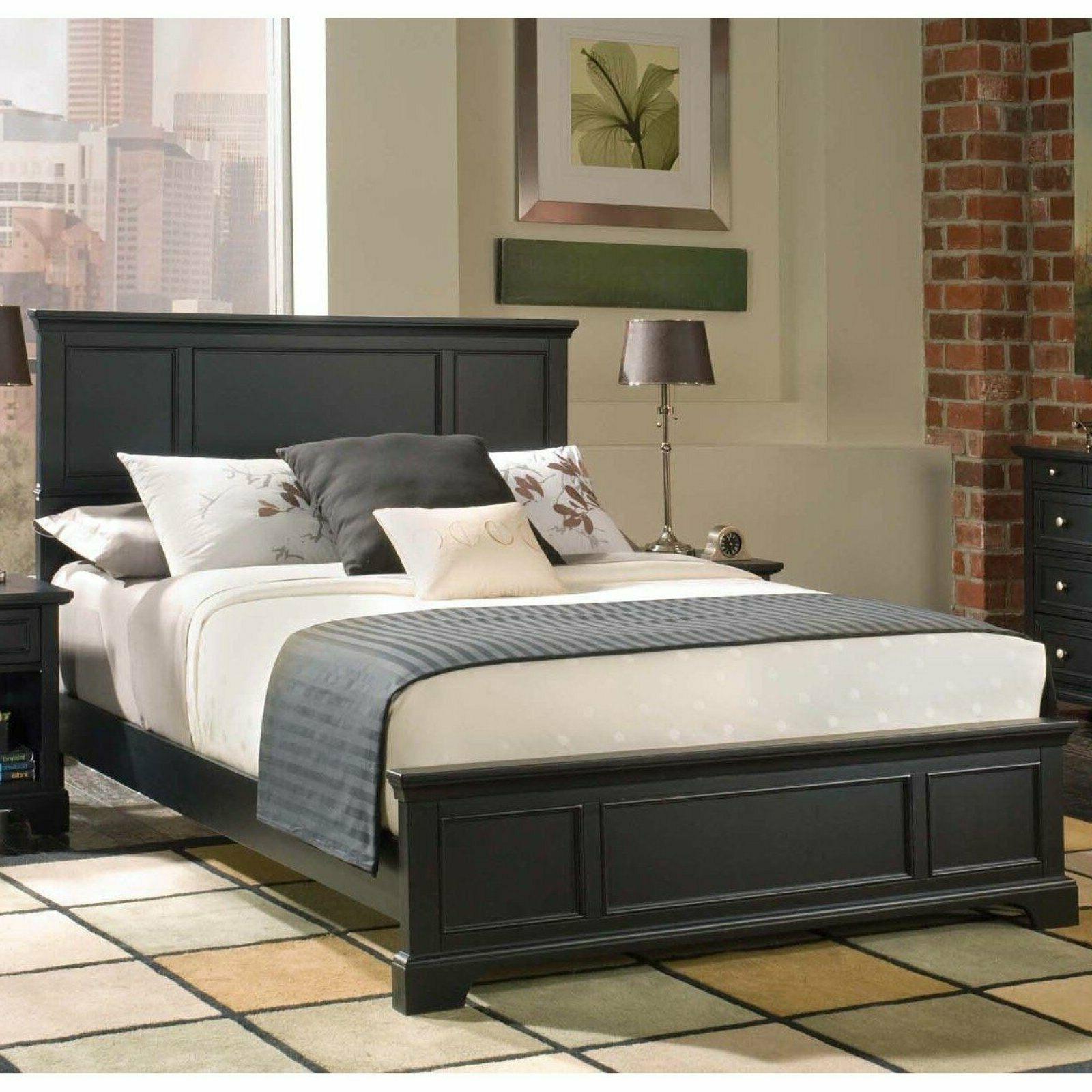 Queen Bed Frame Panel Black Finish Wood Bedroom Furniture Co