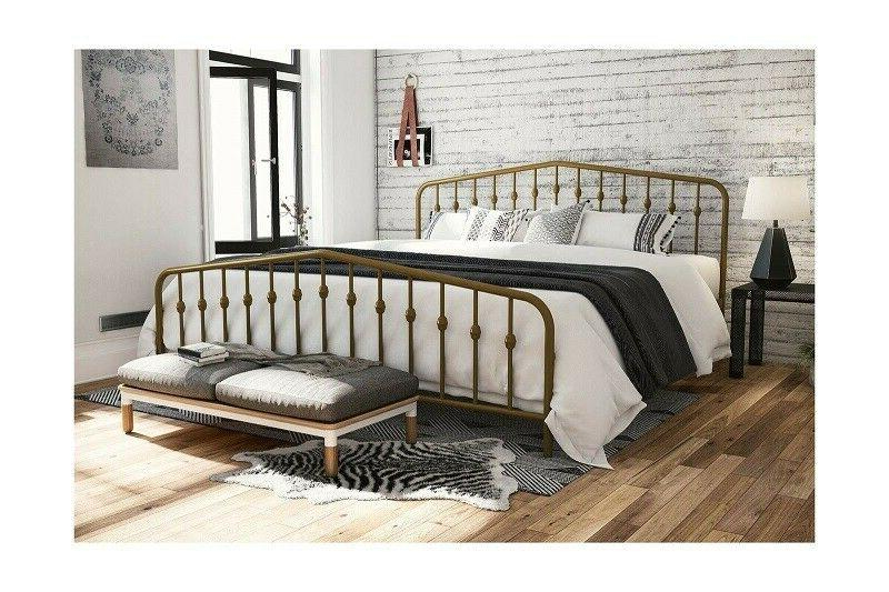 Queen Bed Frame Platform Gold Modern Farmhouse Country Cotta