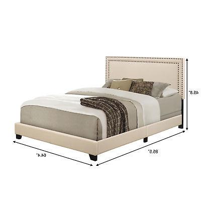Queen Bed Frame Headboard Low Profile Upholstered Platform Elegant