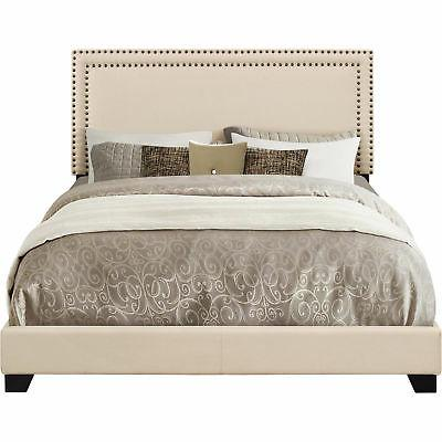 Queen Bed Frame With Headboard Low Profile Platform Elegant Fabric