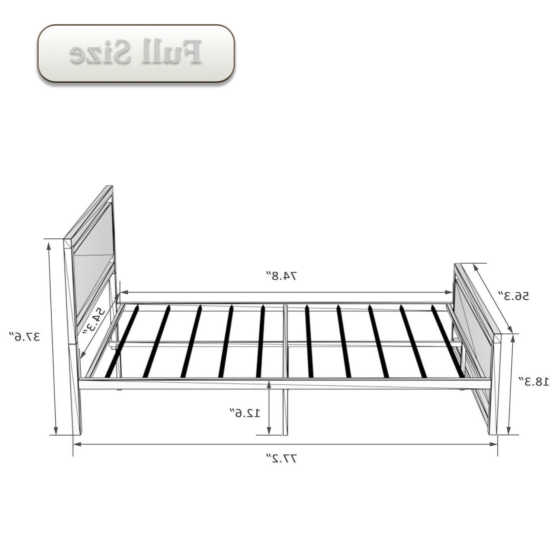 Full Size Bed Frame Foundation Metal & boards