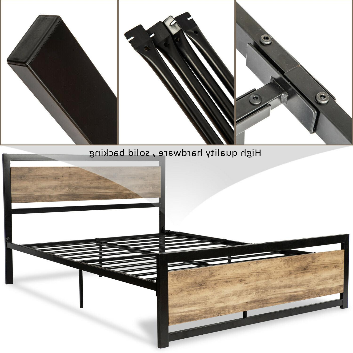 Bed Frame w/Rustic Wood FULL QUEEN'
