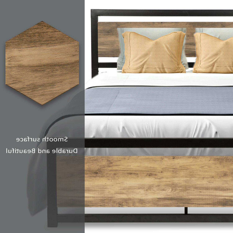 Bed Platform w/Rustic Wood Headboard FULL QUEEN'
