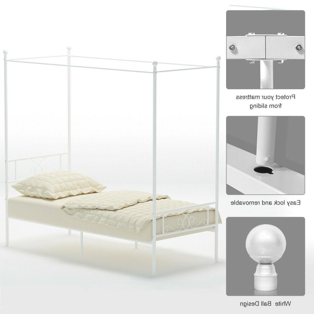 Metal Canopy Bed Frame Twin Size Heavy Duty w/ Headboard Bedroom Furniture Teens