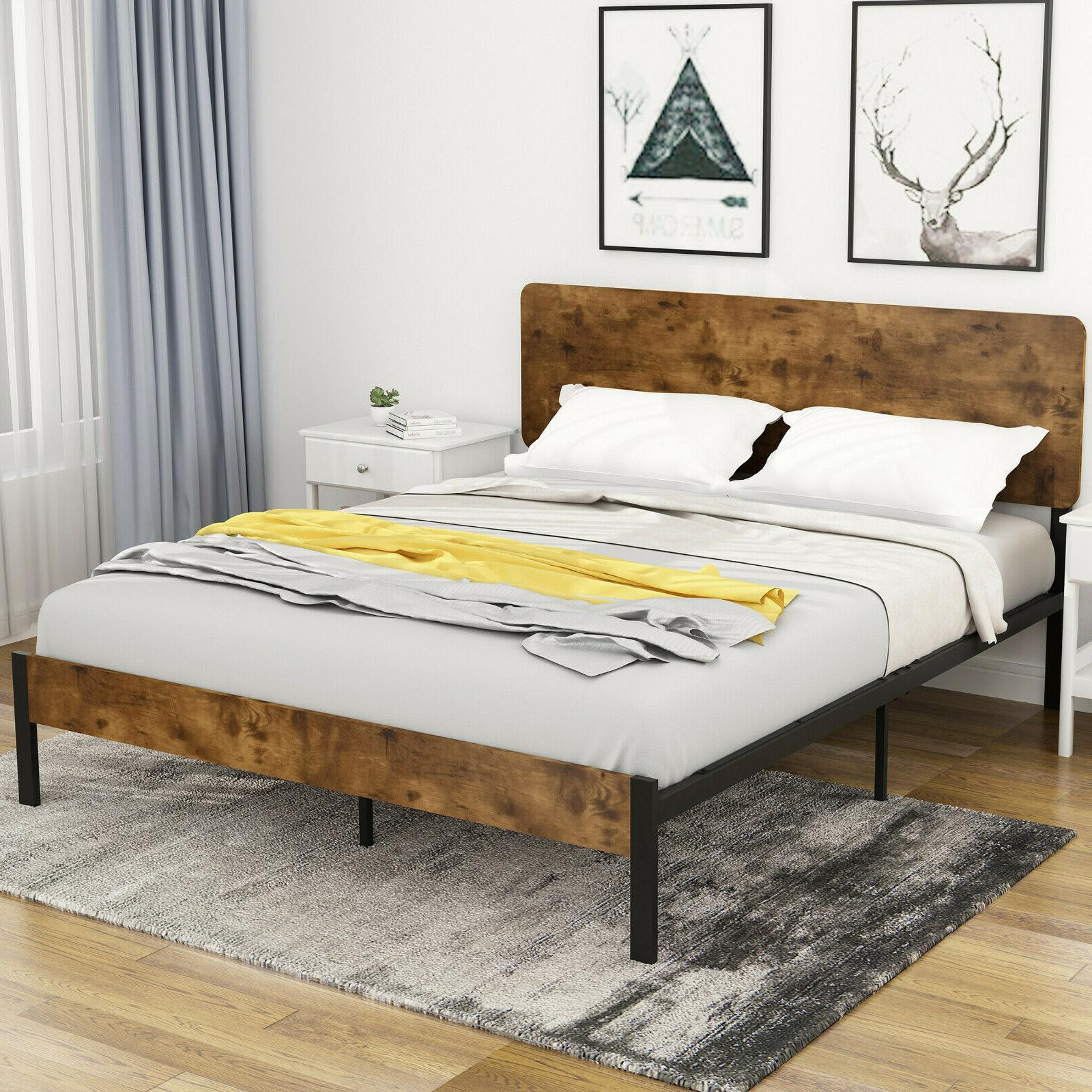 Full Bed Frame with Wood Headboard, High Metal and Wood Plat