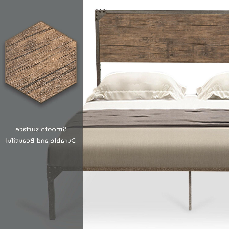 Full Size Platform Metal Bed Style Wood Headboard