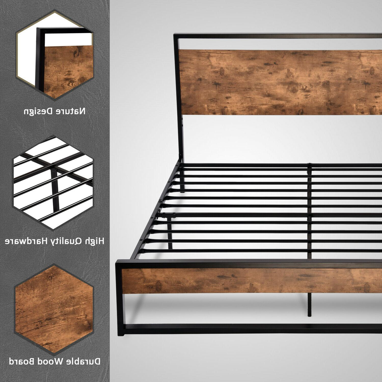 QUEEN FULL Metal Bed Frame Wood Headboard & Footboard Brown