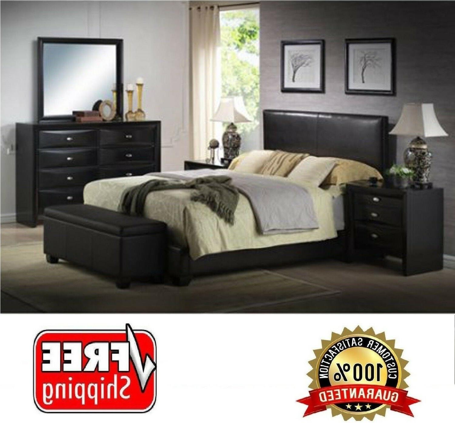 queen leather platform bed frame
