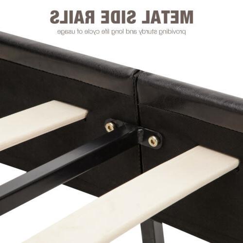 Full Bed Frame Slats Leather Furniture