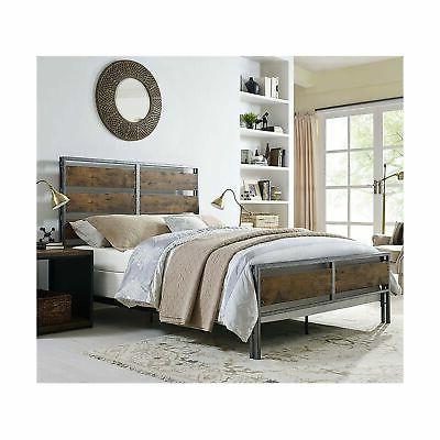 queen metal wood plank bed
