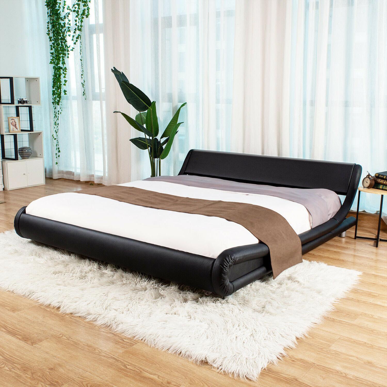 King Queen Full PU Leather Upholstered Metal Platform Bed Fr