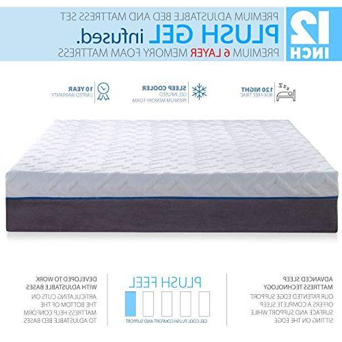 Blissful Nights Size Cool Plush Memory Foam Mattress with Frame Combo, Massage, Zero Nightlight