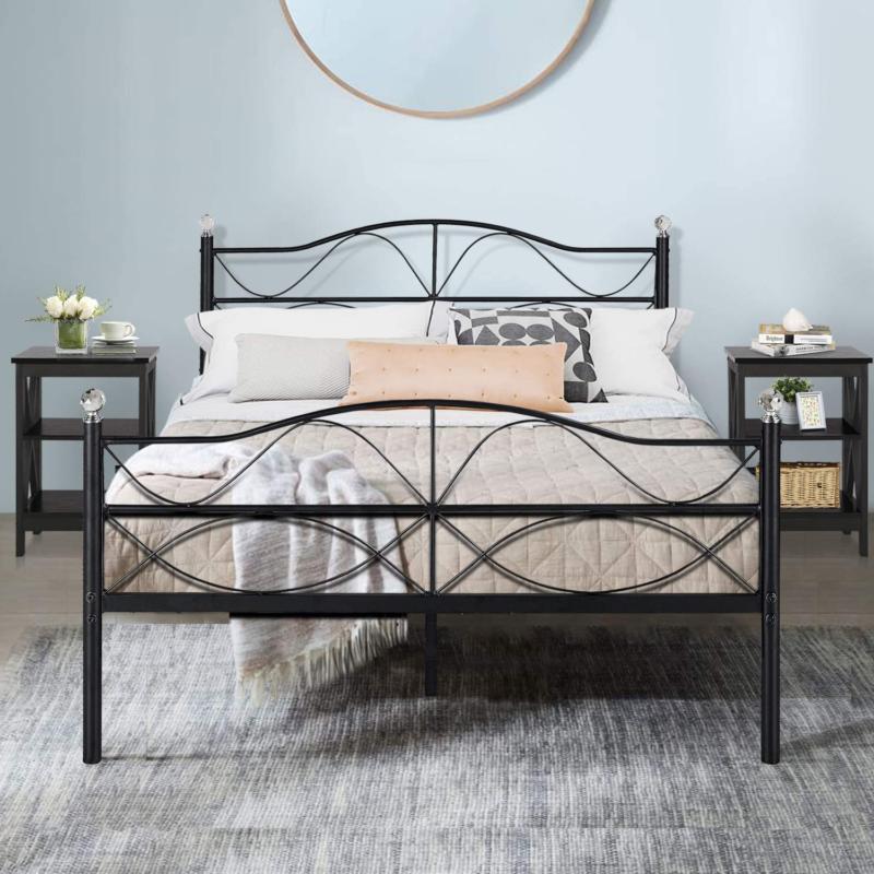VECELO Queen Size Bed Frame Metal Platform Mattress Foundati