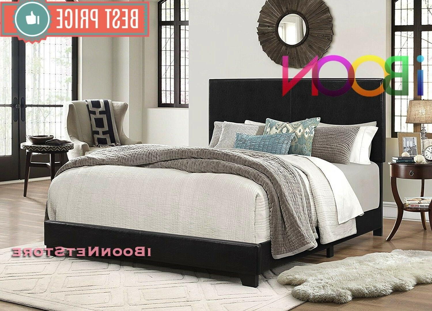 Queen Size Bed Platform Black Faux leather Upholstered