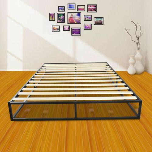 Portable Queen Size Wooden Slat Metal Bed Frame Platform Mat