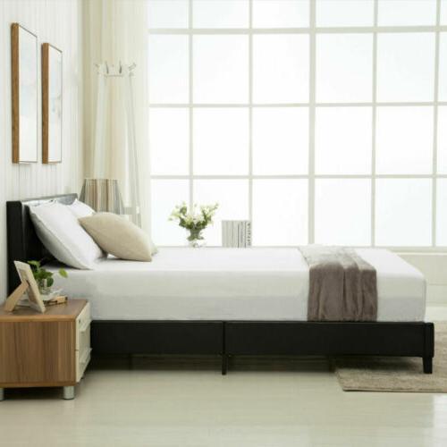 Queen Size Platform Frame & Slats Upholstered Bedroom