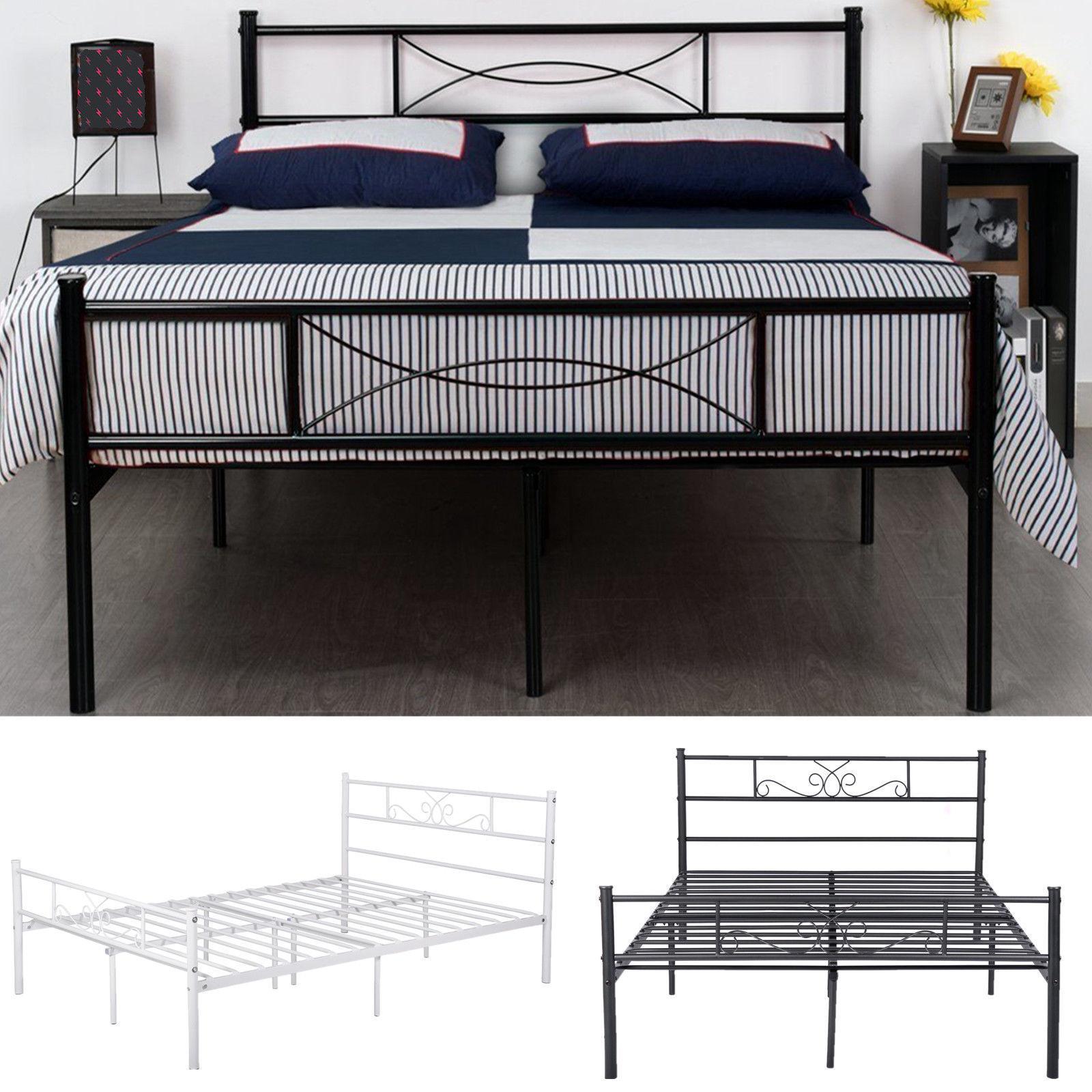 queen size metal bed frame bedroom mattress