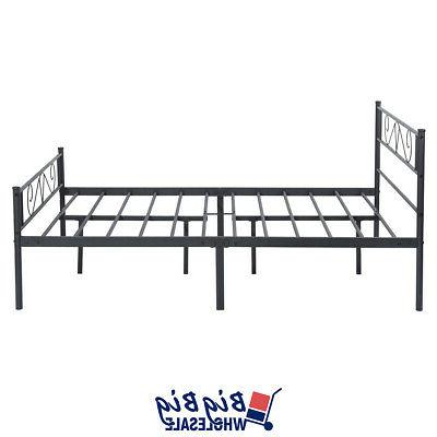 Queen Size Metal Frame Black with Headboard Footboard