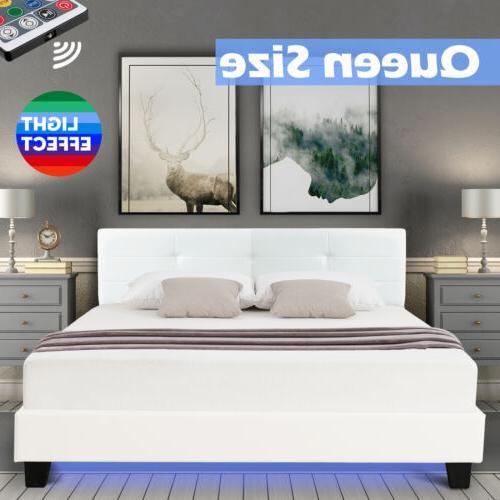 Queen Metal Bed Frame Platform LED Light PU Leather Upholste
