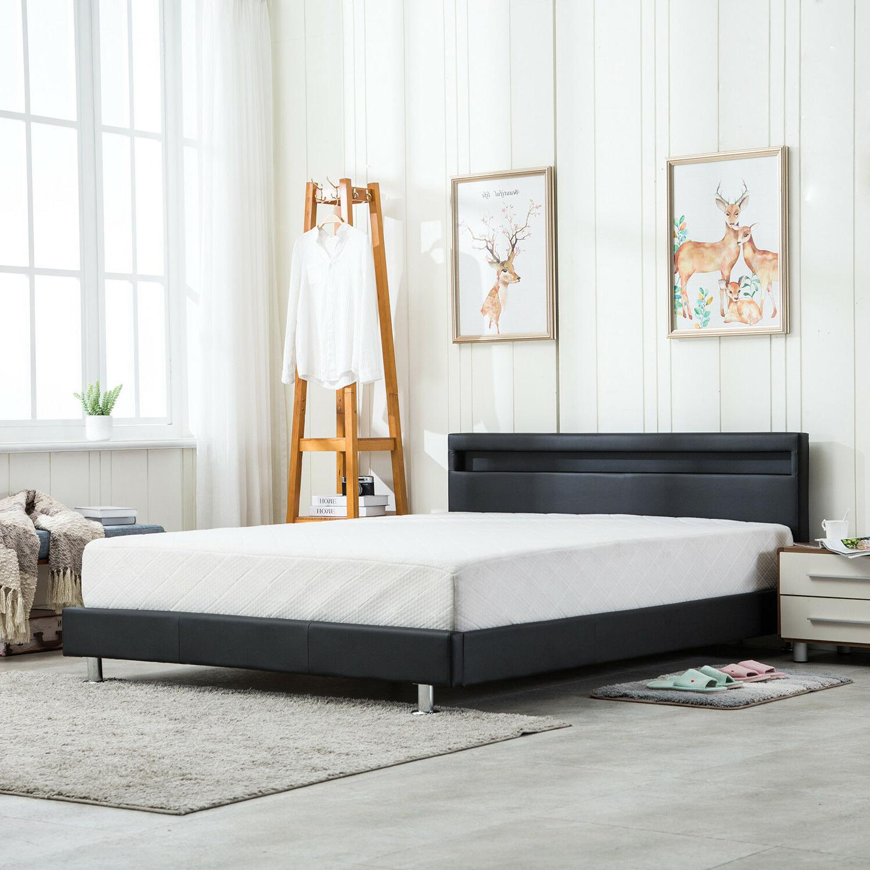 QUEEN Bed Frame Platform w/LED Light Headboard Black New