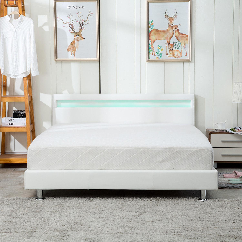 Image of: Queen Size Modern Bedroom Platform Bed Frame Headboard Led Light Steel Legs