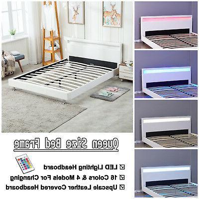 modern platform full size leather bed frame