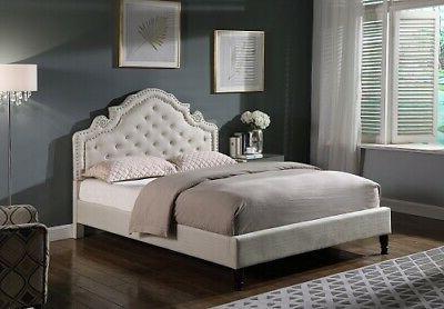 Queen Size Platform Bed Frame Light Beige Linen Button Accen