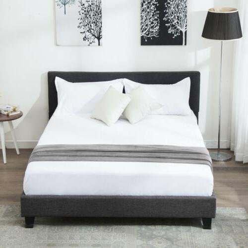 Full Size Metal Bed Frame Platform With Headboard Wood Slats