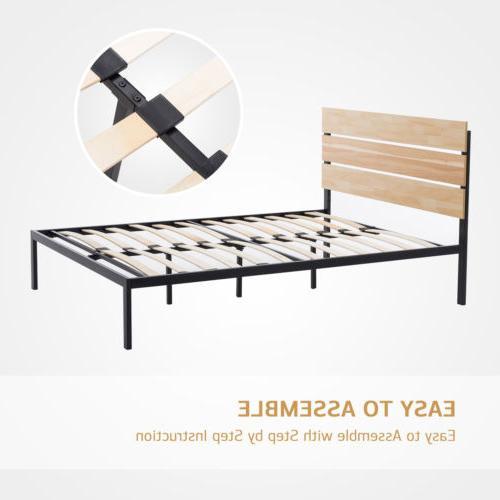 Queen Size Platform Bed Frame Wooden Headboard Slats Furniture