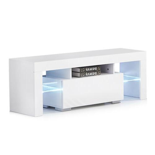 Modern TV Unit Console Table w/ LED Light Shelves